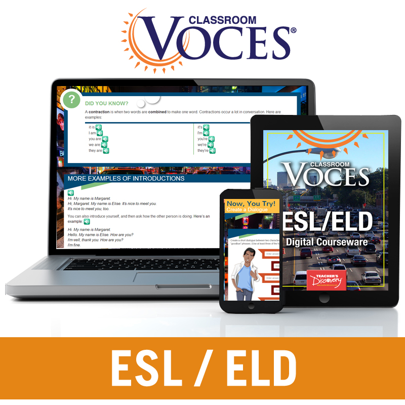 Voces® ESL/ELD Digital Courseware Subscription