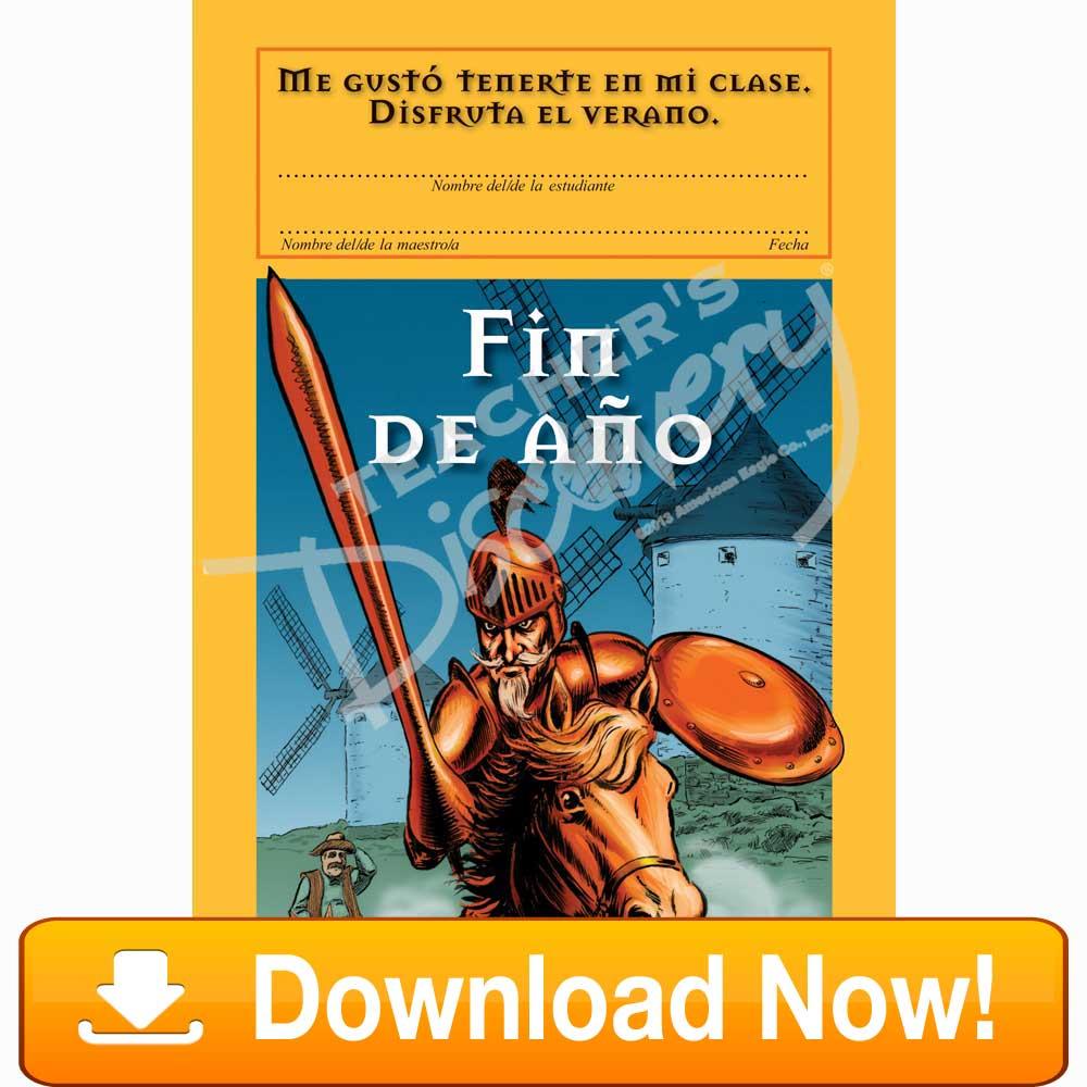 """Don Quixote """"Fin De Año"""" Spanish Certificate Download"""