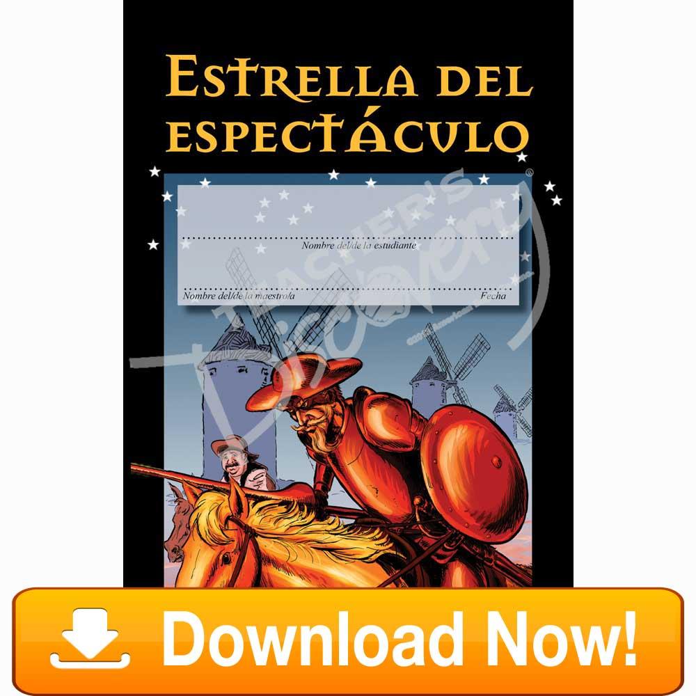 "Don Quixote ""Estrella Del Espectáculo"" Spanish Certificate Download"
