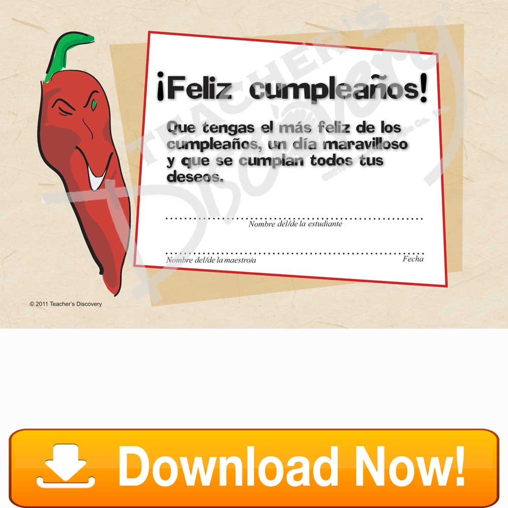 Other teachers discovery downloadable chico chile feliz cumpleaos spanish certificate 1betcityfo Gallery