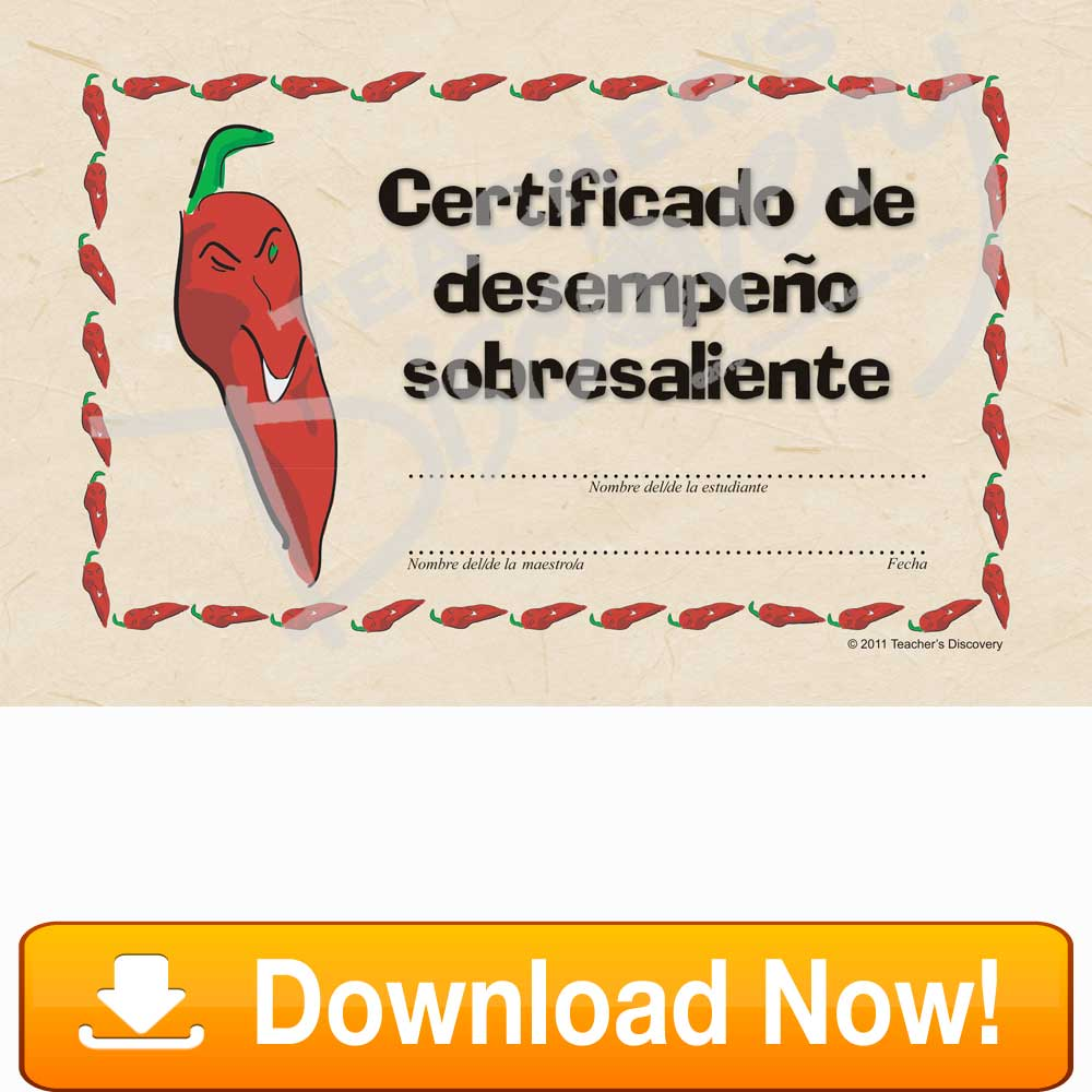 Other teachers discovery chico chile certificado de desempeo sobresaliente spanish certificate download 1betcityfo Gallery