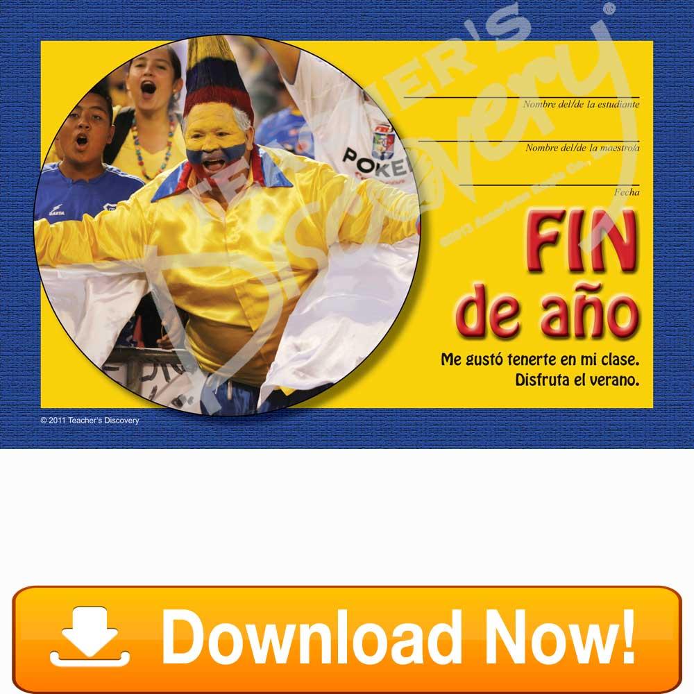 """Colombian Soccer """"Fin De Año"""" Spanish Certificate Download"""