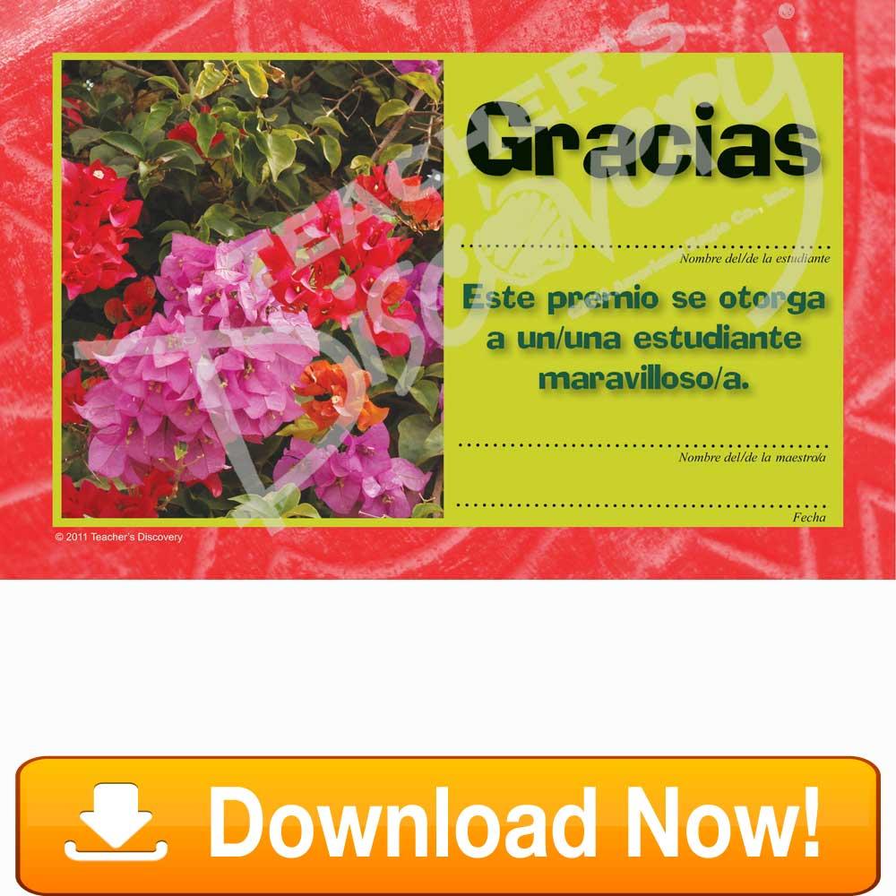 "Galician Azaleas ""Gracias"" Certificate Download"