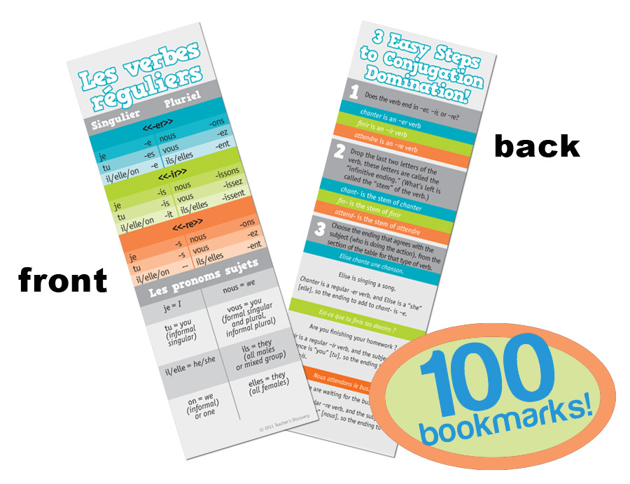 Regular Verbs French Bookmarks (100)