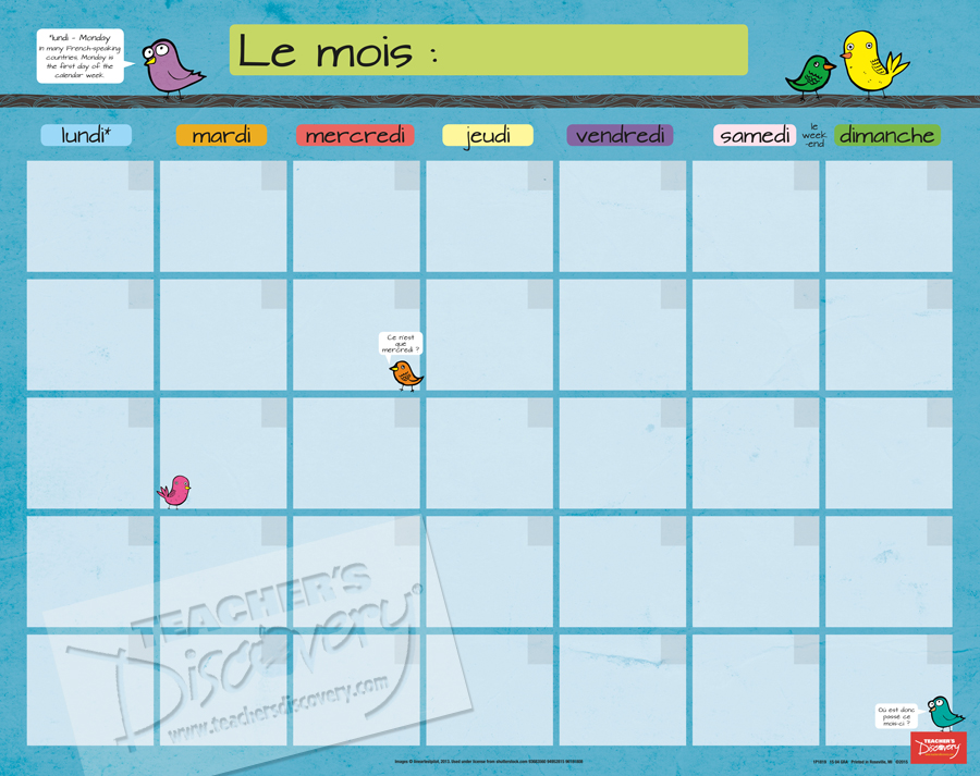 Month French Homework Chart