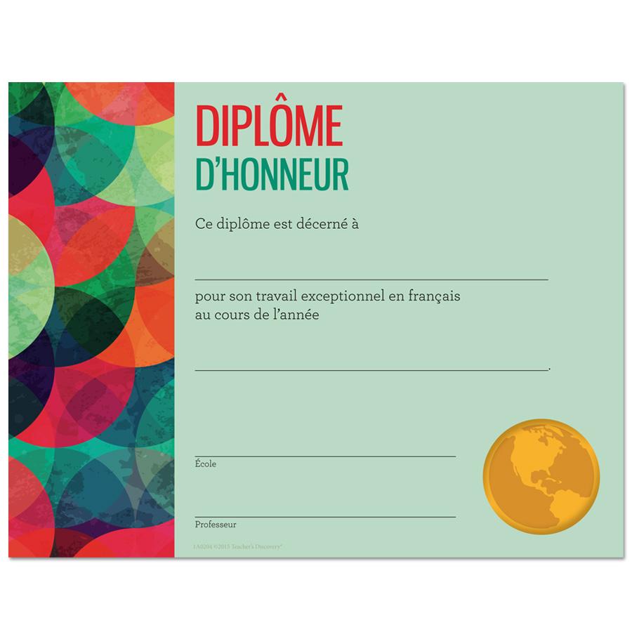 Modern French Award Certificate