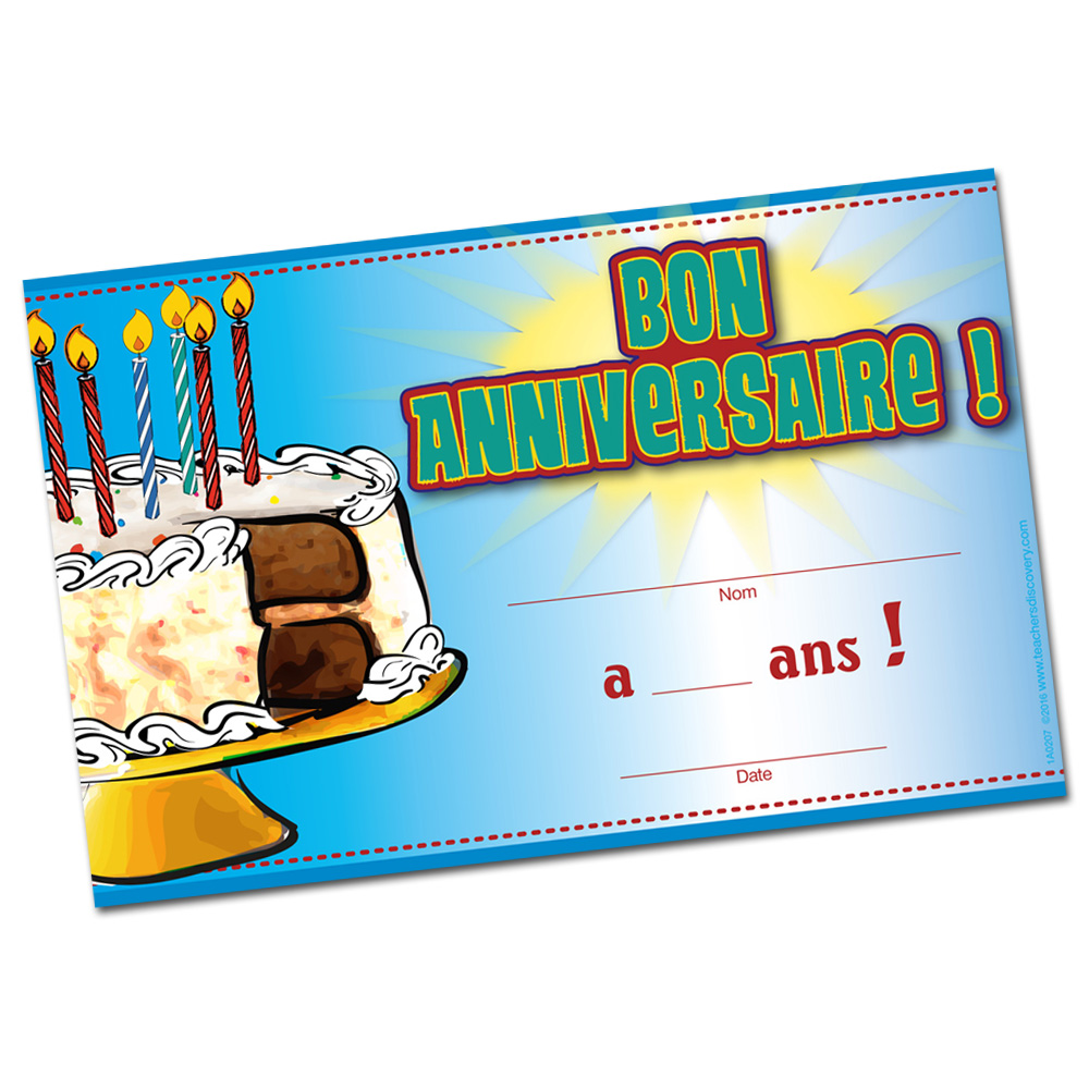 FRENCH BIRTHDAY CERTIFICATES SET OF 36