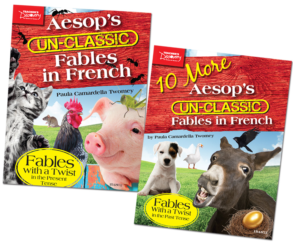 Aesop's Un-Classic Fables in Present Tense and 10 More in the Past Tense in French Set of 2