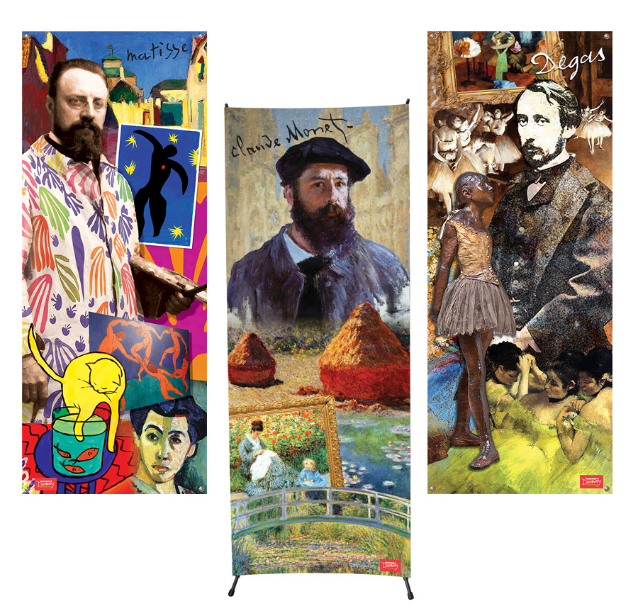 French Artists Vinyl Banners Set of All 3 Banners and 1 X-Stand