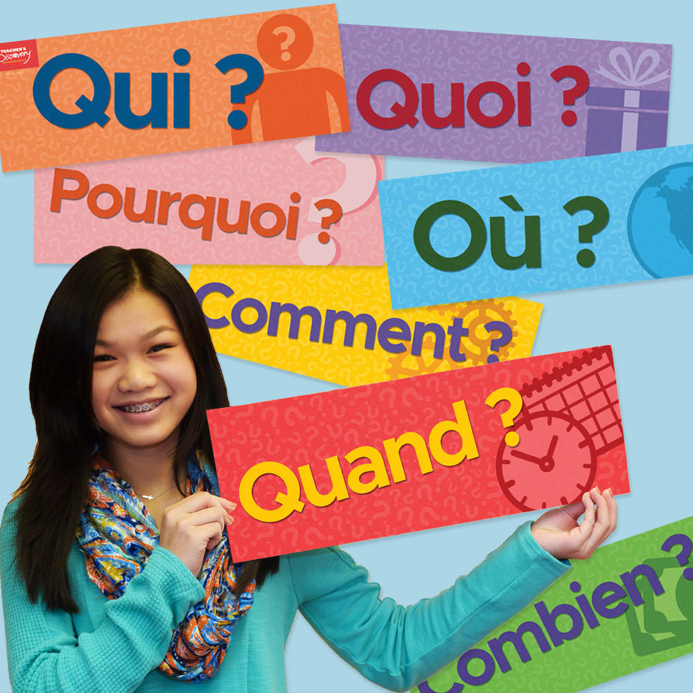 Question Words French Signs (Set of 7)