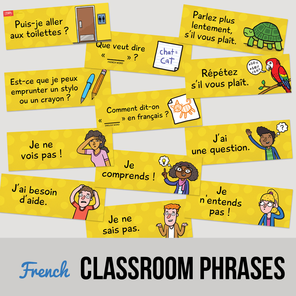 Classroom Phrases French Signs - Set of 12