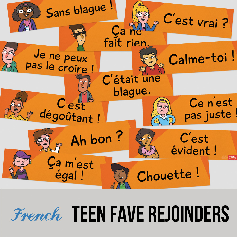 Teen Faves French Rejoinder Signs - Set of 12