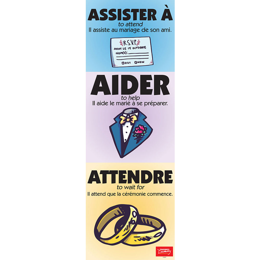 Vexing Verbs Assister à, Aider, and Attendre French Poster