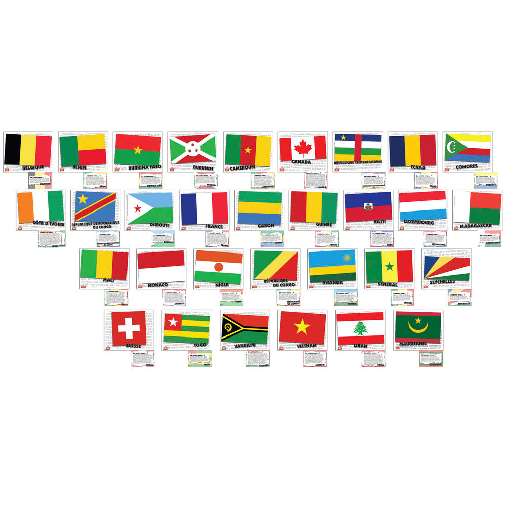 Flags of French-Speaking Countries Bulletin Board Set