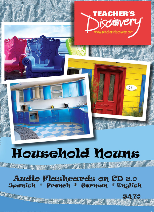 Audio Flash Cards Spanish/French/German/English Household Nouns