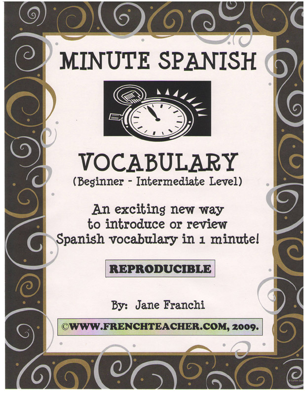 Minute Spanish Vocabulary Activity Packet Download